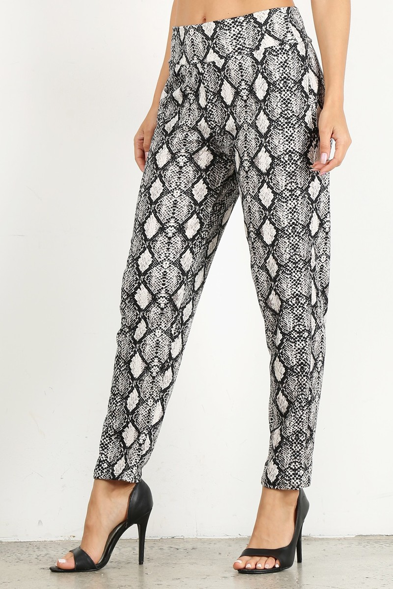 SNAKESKIN FITTED ELASTIC BAND PANTS - orangeshine.com