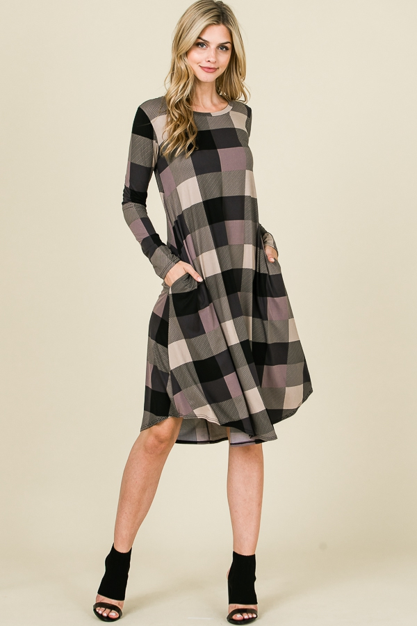 LONG SLEEVE PLAID SWING DRESS - orangeshine.com