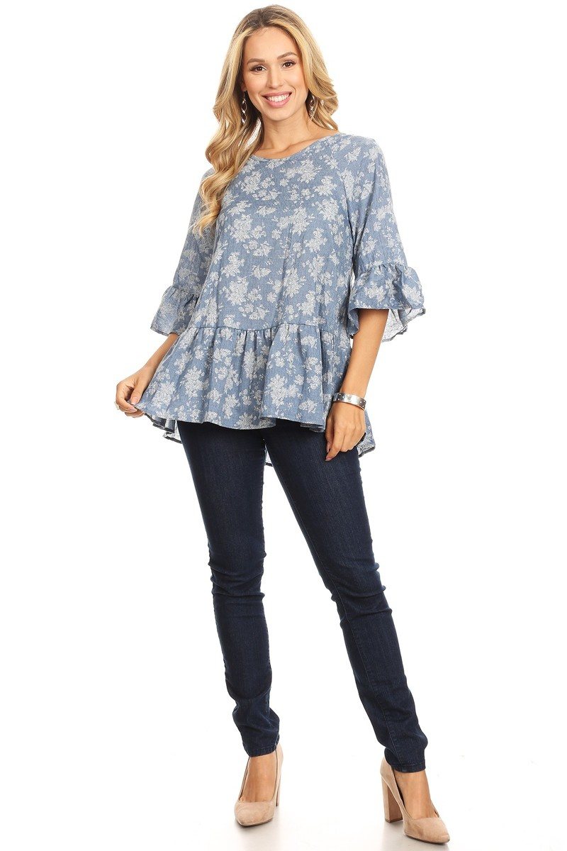 WOVEN PRINT TOP TUNIC - orangeshine.com