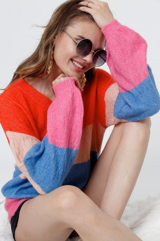 V Neck Color Block Sweater - orangeshine.com