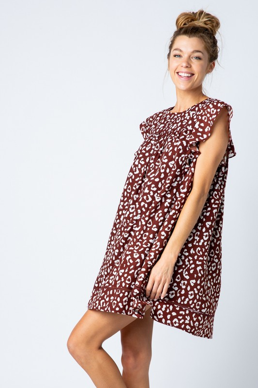 Leopard Print Babydoll Dress - orangeshine.com