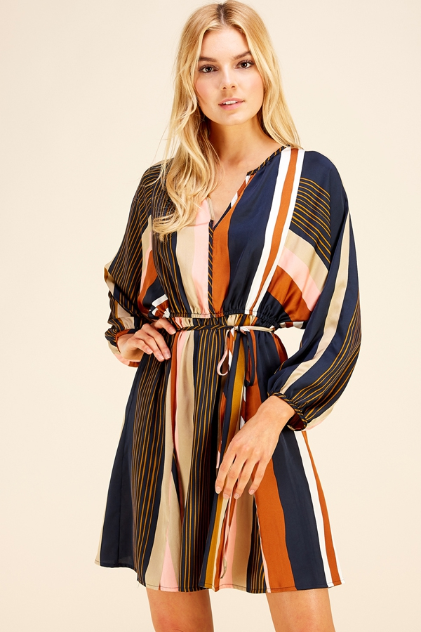 SATIN MULTI STRIPED V NECK WAIST TIE - orangeshine.com