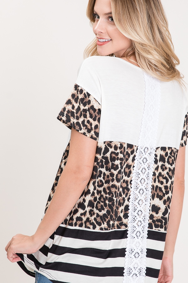 COLOR BLOCK TOP WITH LACE BACK - orangeshine.com
