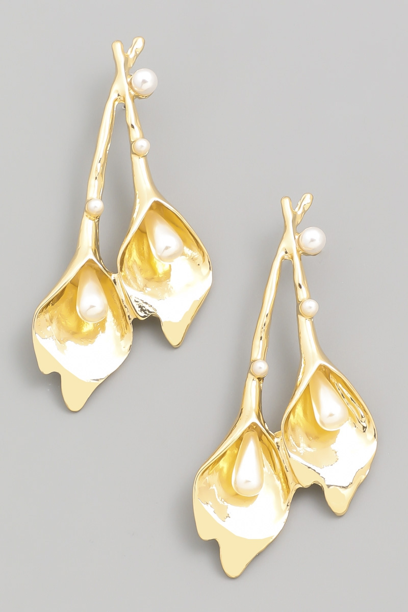 Metallic Floral Drop Earrings - orangeshine.com