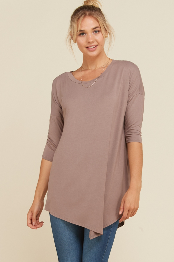 3 4 Sleeve Asymmetrical Hem Top - orangeshine.com
