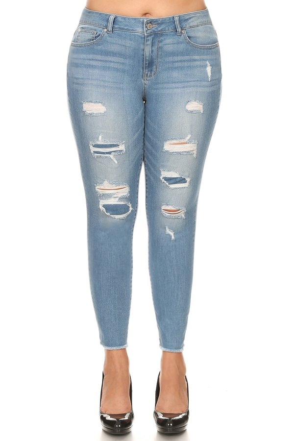 Plus Size Distressed Fray Hem Jeans - orangeshine.com