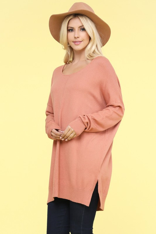 LOOSE FIT TUNIC LENGTH SOFT SWEATER - orangeshine.com