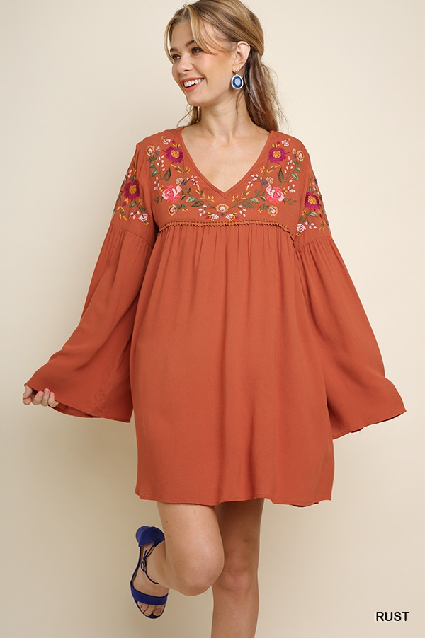 Floral Embroidered V-Neck Dress - orangeshine.com