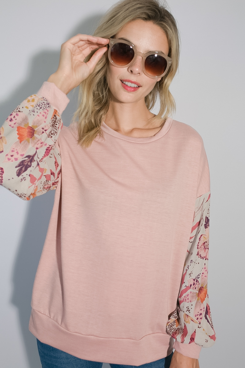 FLORAL SOLID MIXED VOLUME SLEEVE TOP - orangeshine.com
