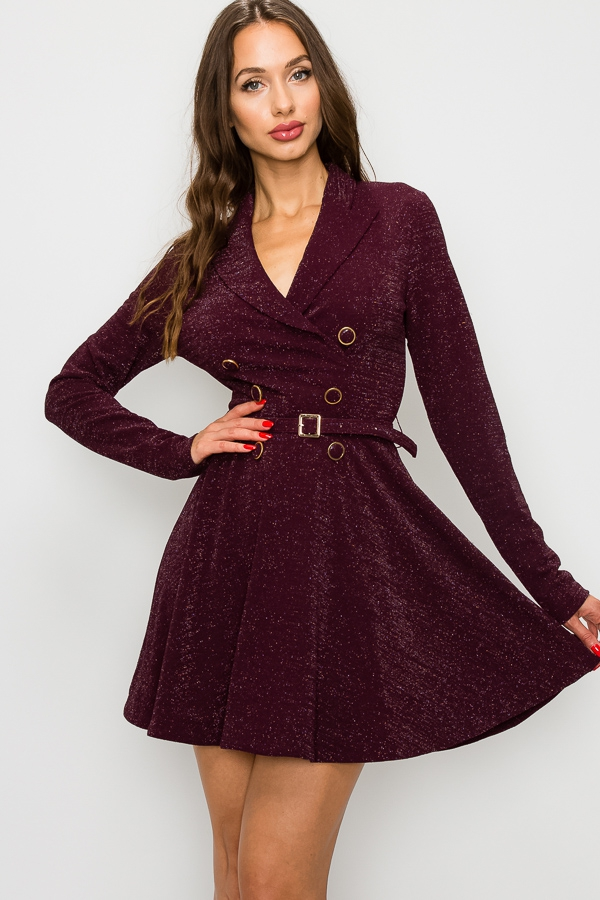 BREASTED BELTED FIT AND FLARE DRESS - orangeshine.com