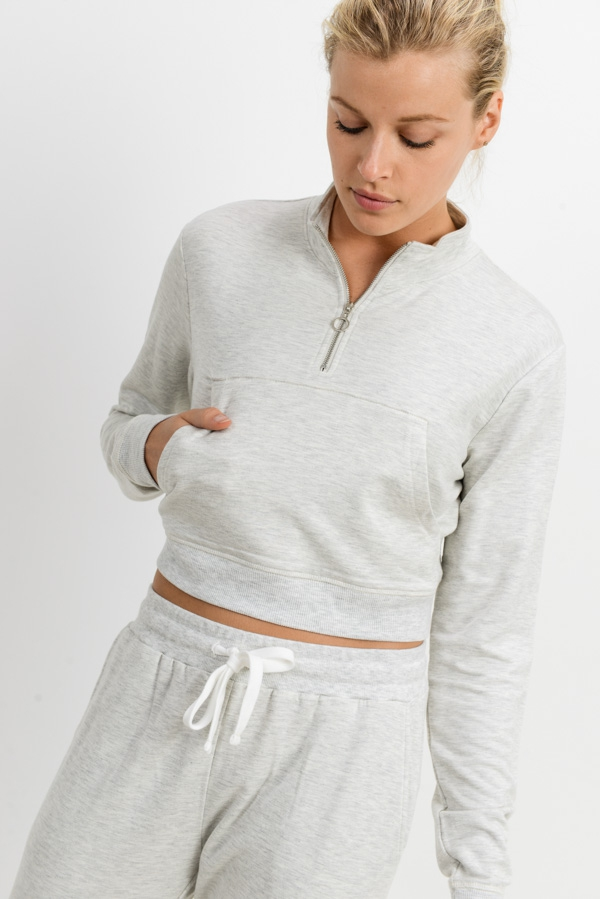 Crop Brushed Sweater with Zip-Up Col - orangeshine.com