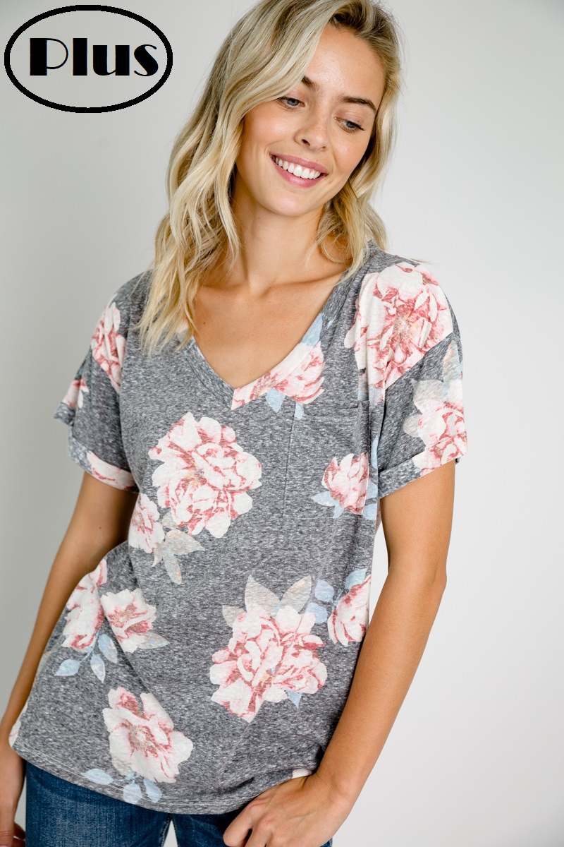 FLORAL PRINT V NECK PLUS TOP - orangeshine.com