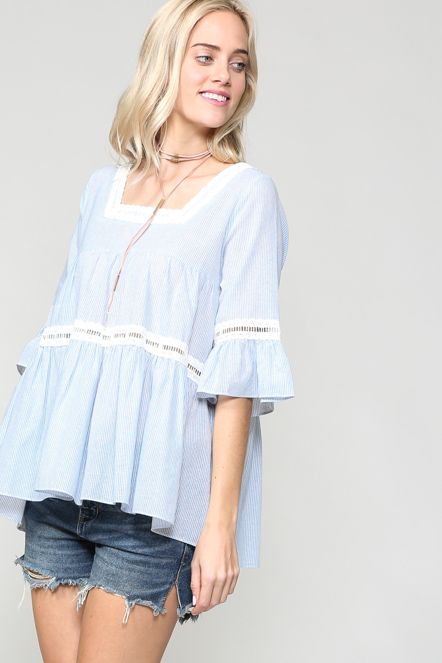 STRIPED LOOSE FIT RUFFLE TUNIC TOP - orangeshine.com