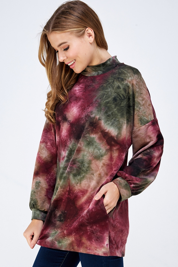 TIE DYE POCKET PUFF SLEEVE TUNIC PLU - orangeshine.com