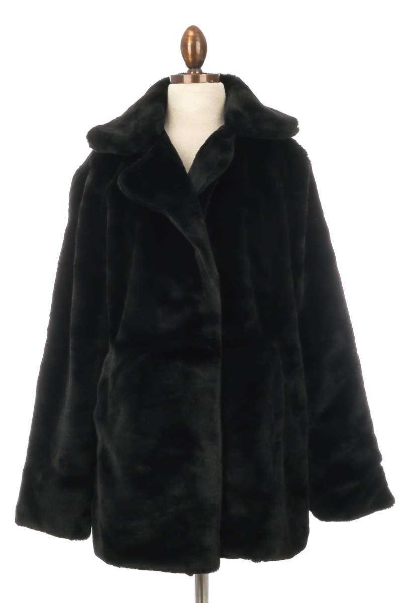 Large Collar Faux Fur Coat - orangeshine.com