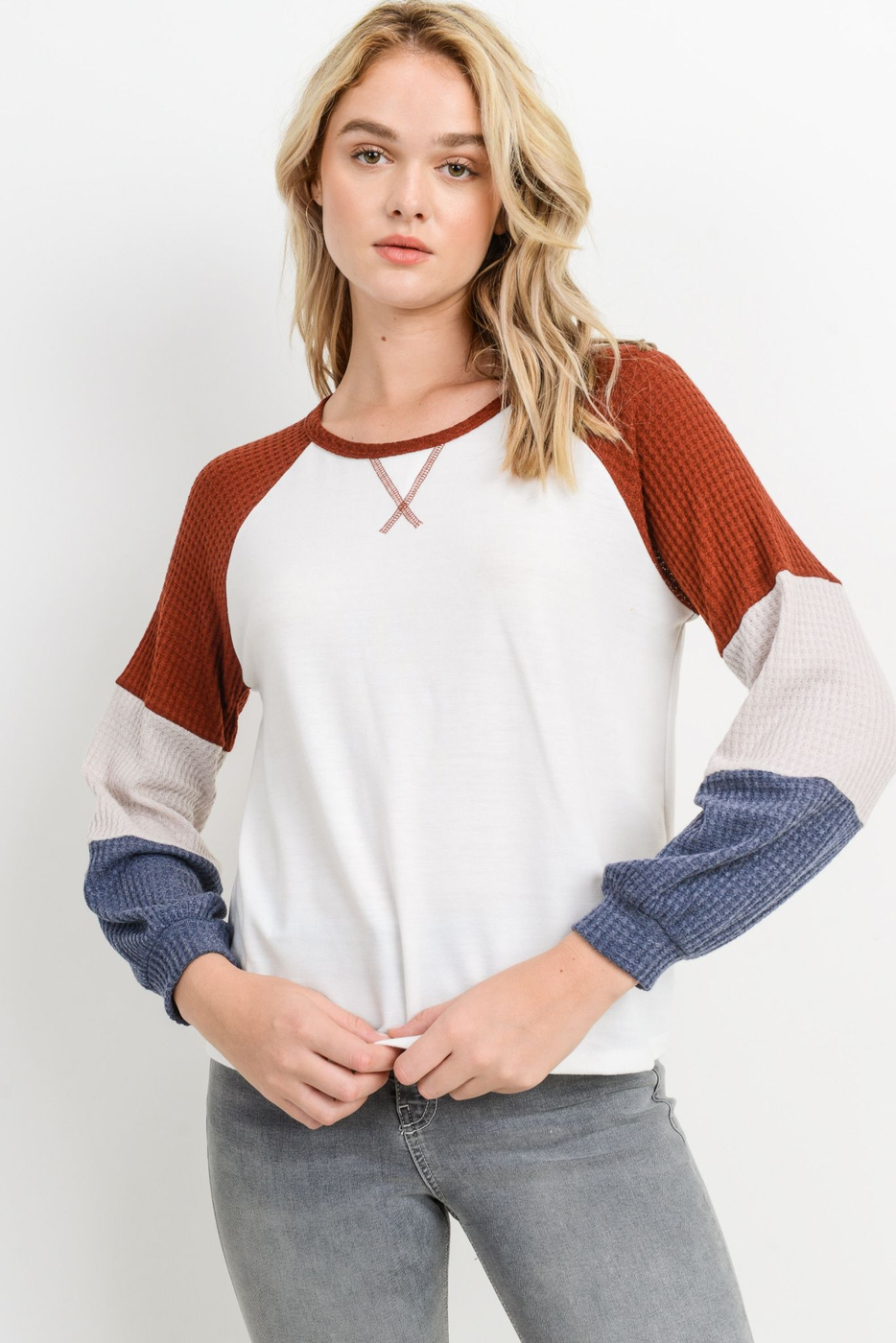 French Terry Color Block Raglan Top - orangeshine.com