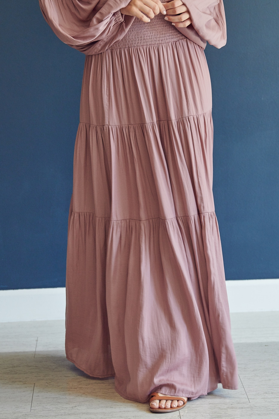 BAND WAIST LONG SKIRT - orangeshine.com