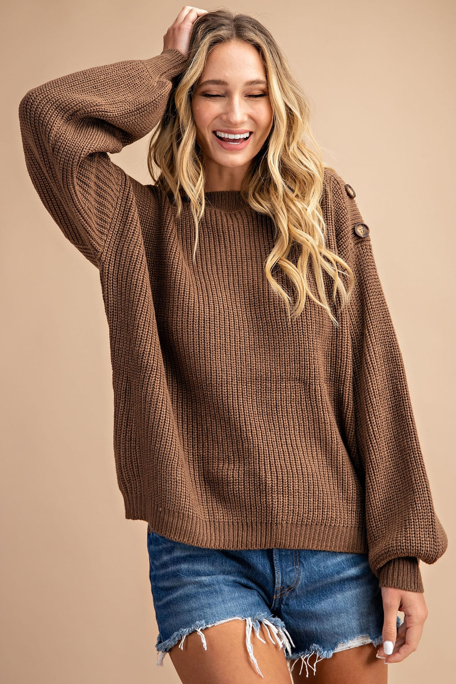 RIBBED BALLOON SLEEVE SWEATER TOP - orangeshine.com