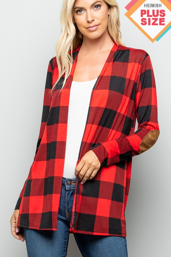 PLAID PRINT OPEN CARDIGAN WITH ELBOW - orangeshine.com