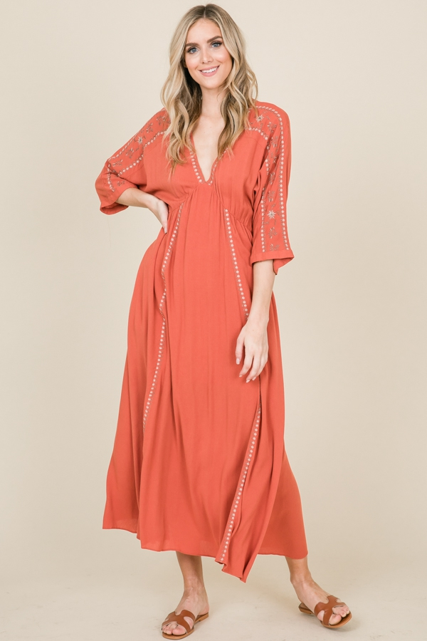 Embroidered Detail Bell Sleeve Maxi - orangeshine.com