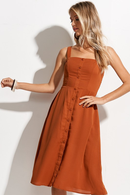 Summer Fresh Button Front Midi Dress - orangeshine.com
