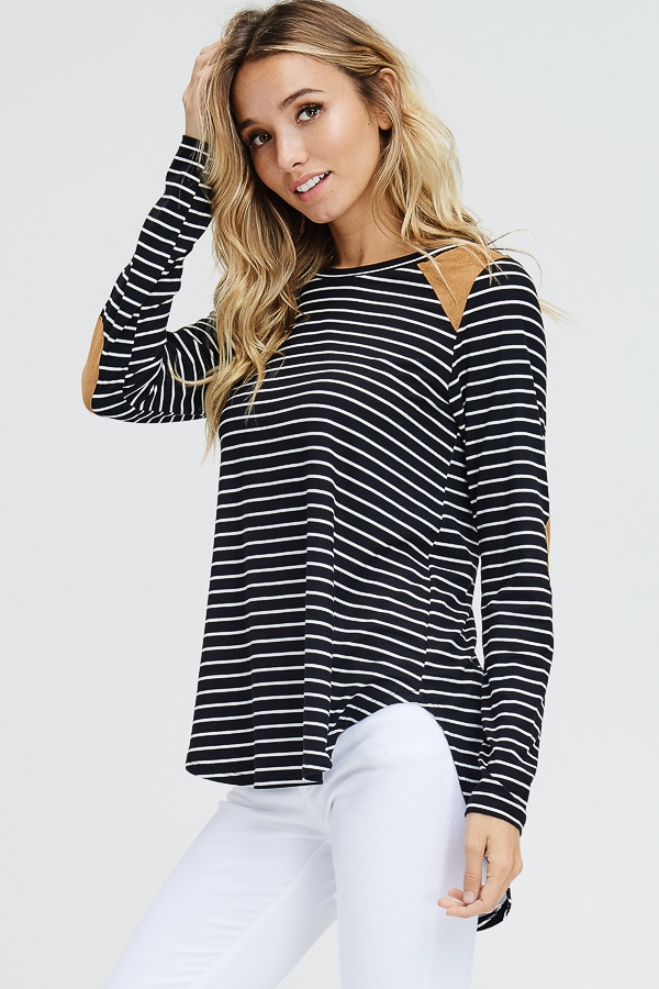 Striped Knit Suede Patch Knit Top  - orangeshine.com
