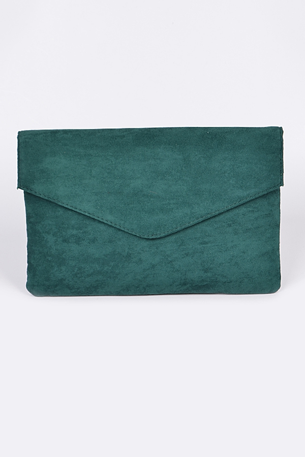 Poly Faux Velvet Clutch - orangeshine.com
