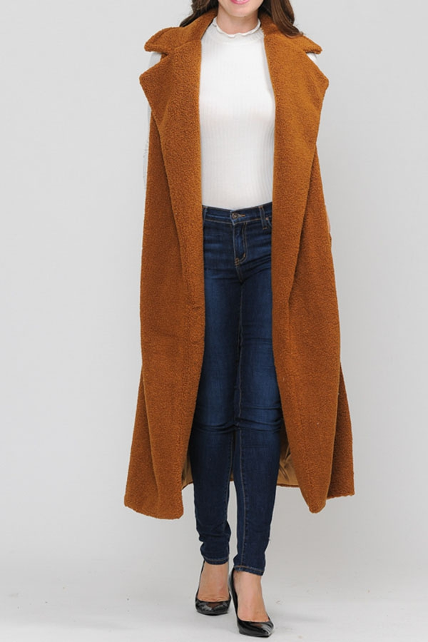 Collared Long Vest with Lining - orangeshine.com