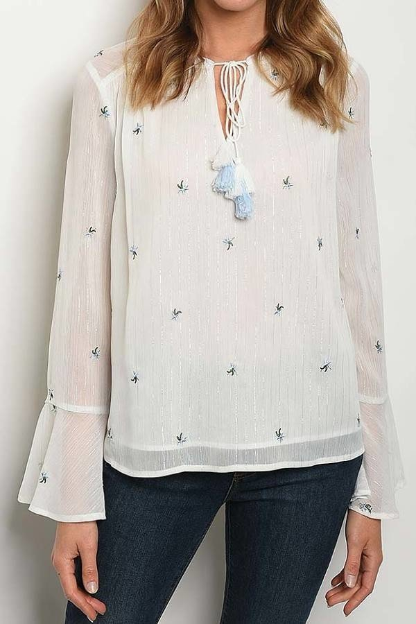 FLORAL EMBROIDERED DETAIL TOP - orangeshine.com