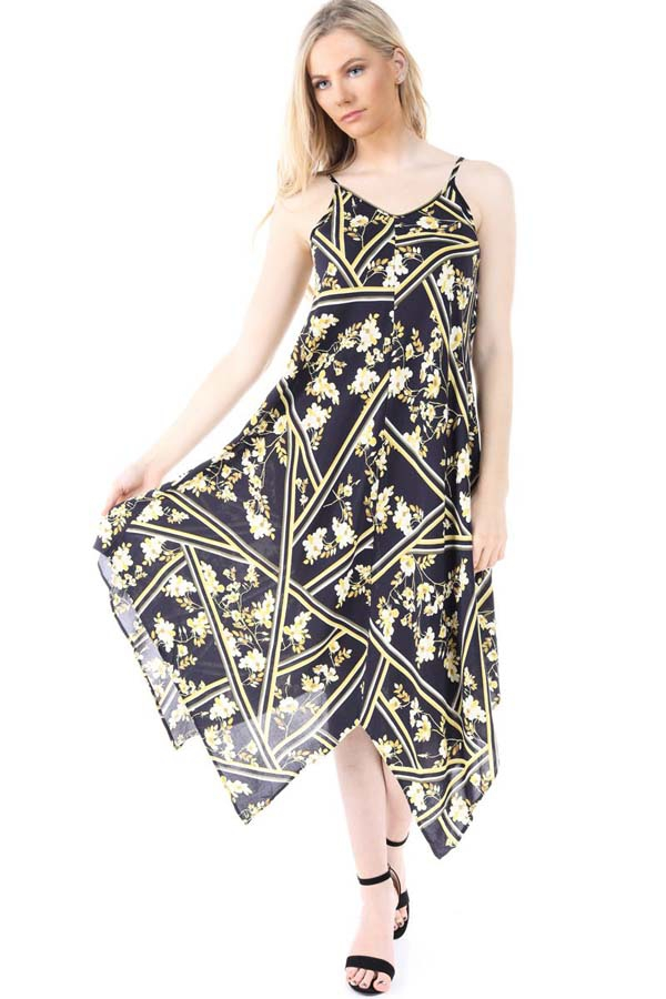 Flower Geo Print Sun Dress - orangeshine.com
