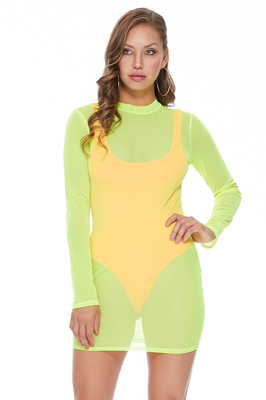 NEON MESH SWIMWEAR BODYCON DRESS - orangeshine.com