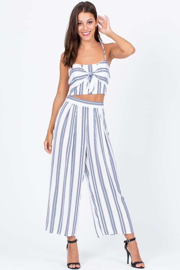 BLUE WHITE STRIPE TWO PIECE MATCHING - orangeshine.com