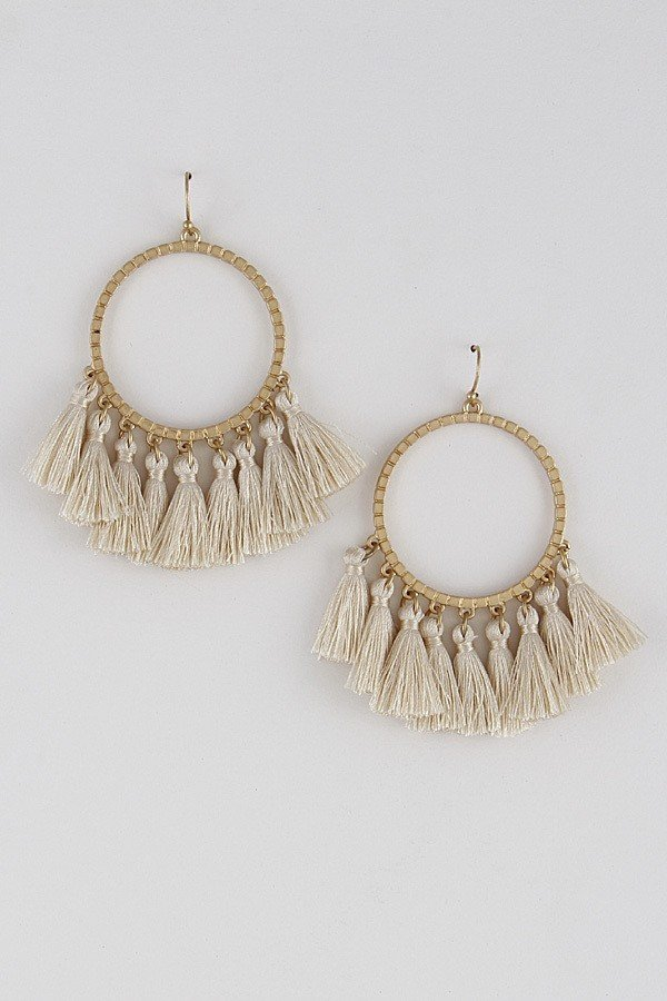 Multi Tassel Curtain Drop Earrings - orangeshine.com