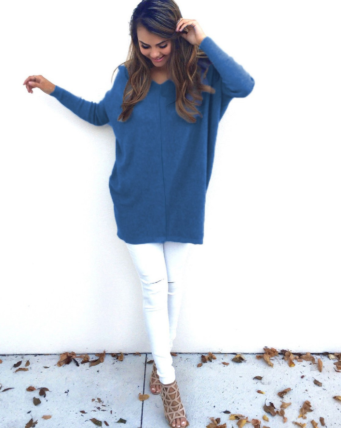 V Neck Long Sleeve Causal Sweater - orangeshine.com