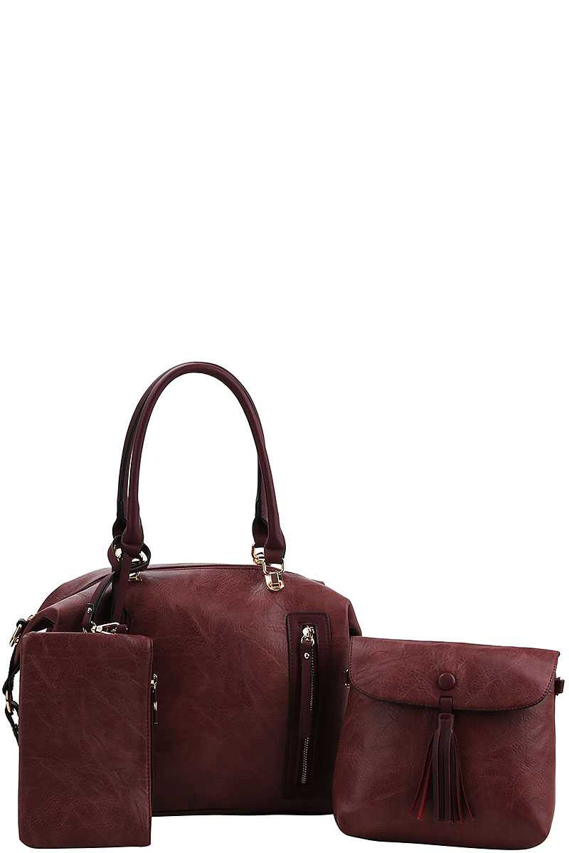 ZIPPER ACCENT DOCTOR SATCHEL SET - orangeshine.com