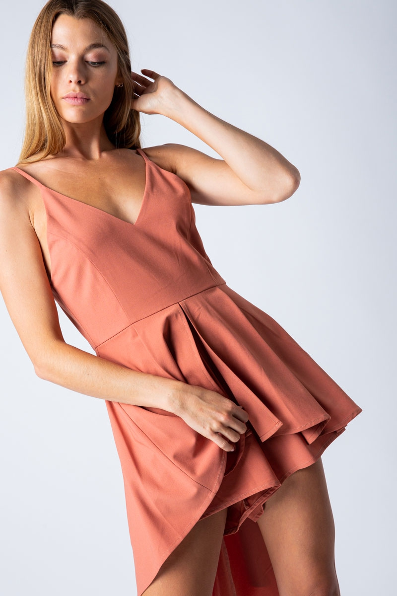 ROMPER WITH HIGH LOW SKIRT DETAIL	 - orangeshine.com