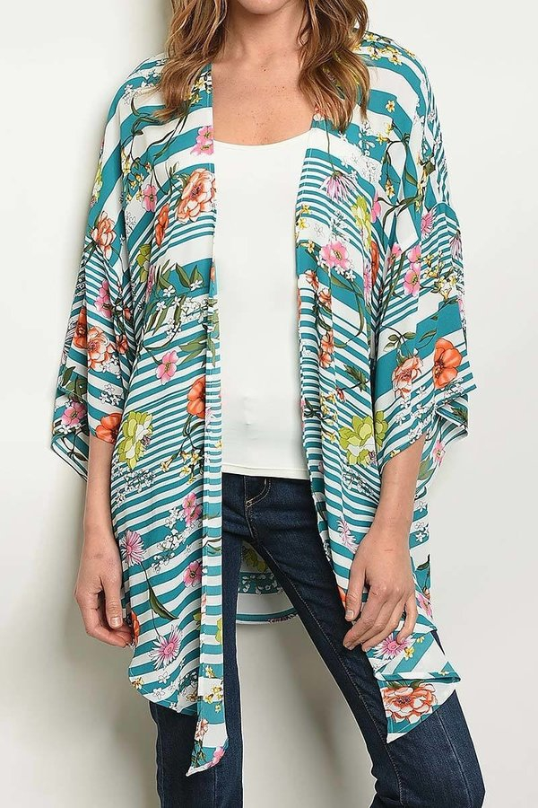 STRIPE AND FLORAL PRINT CARDIGAN  - orangeshine.com
