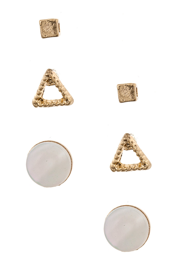 Round Cube and Triangle Stud Earring - orangeshine.com
