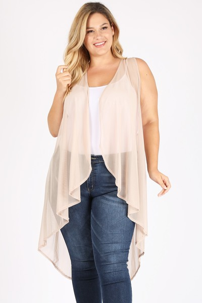 PLUS SIZE SOLID COLOR POWER MESH VES - orangeshine.com