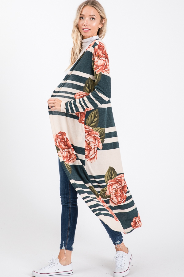 A long sleeve floral cardigan - orangeshine.com