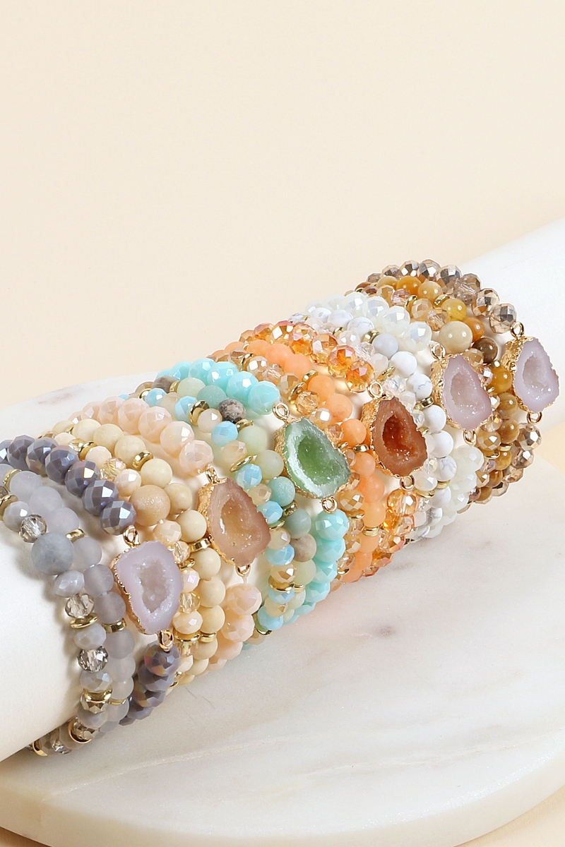 3 Layer Druzy Stretch Bracelet - orangeshine.com