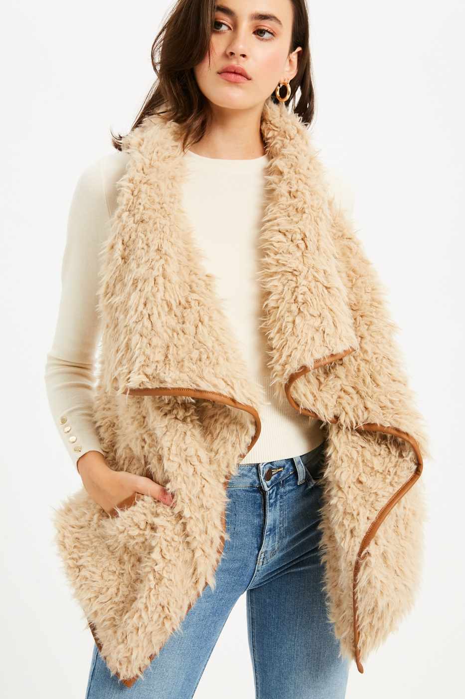 Leather Trim Shearling Fur Vest - orangeshine.com