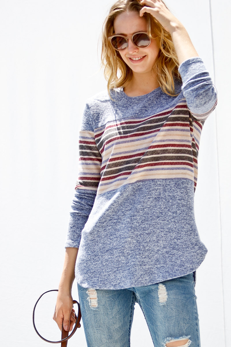 Long sleeve with multi color stripe  - orangeshine.com