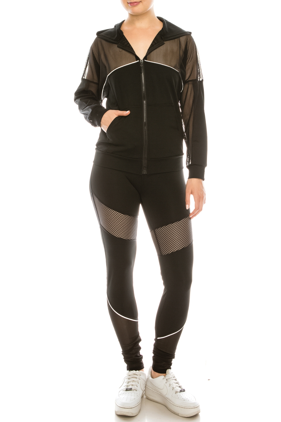 Mesh panel jacket and pants set  - orangeshine.com