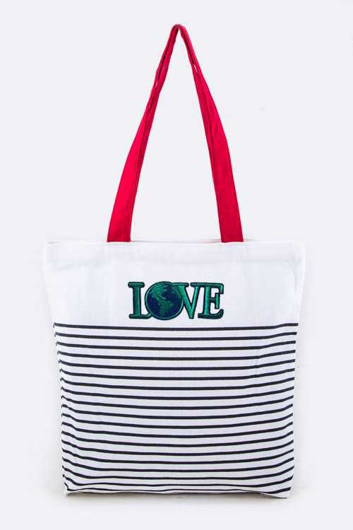 LOVE Earth Strip Canvas Tote - orangeshine.com
