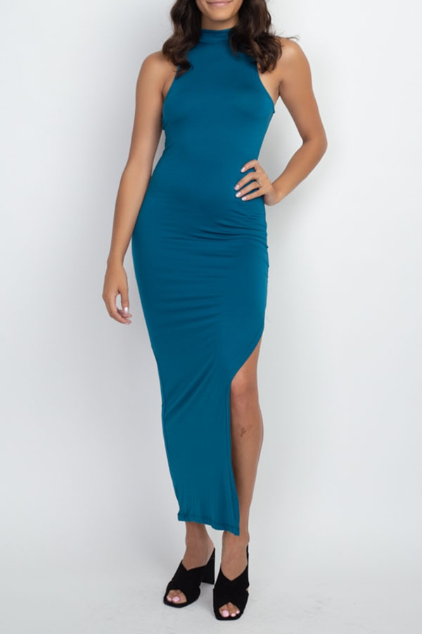 Solid Maxi dress with high slit - orangeshine.com