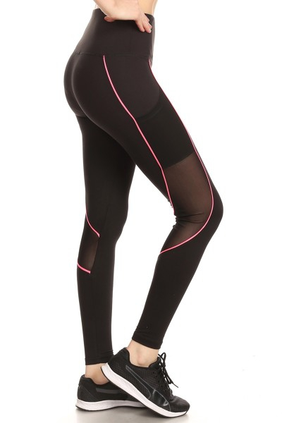 Black Mesh Sport Leggings Yoga Pants - orangeshine.com