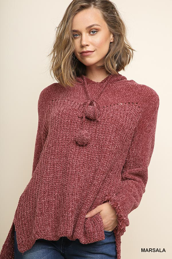 Chenille Knit Hooded Pullover Sweate - orangeshine.com