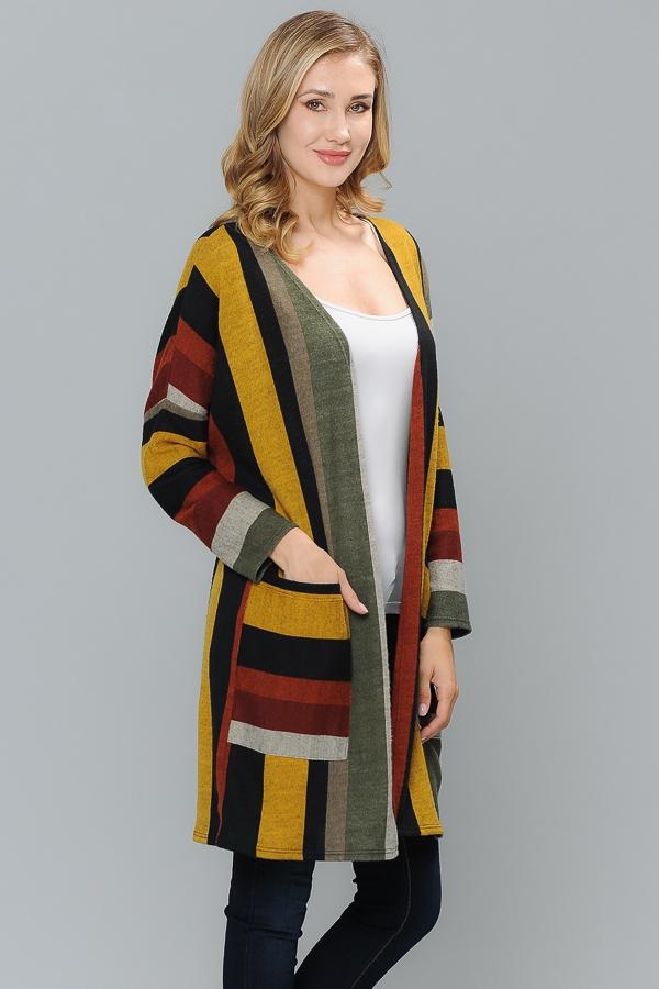 STRIPED MULTI PRINT  KNIT CARDIGAN  - orangeshine.com