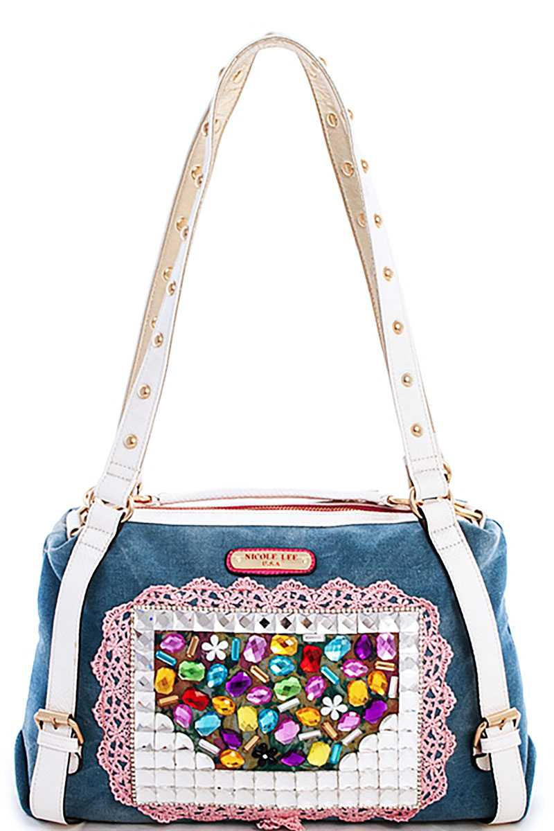 Nicole Lee MULTI RHINESTONE SATCHEL  - orangeshine.com
